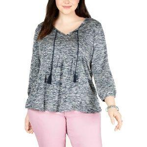 Style & Co Plus Size Tassel Long Sleeves Blouse